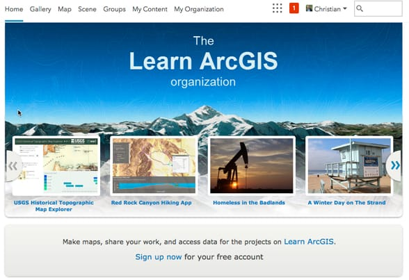 The Learn Arcgis Organization Is Set Up Specifically For Educational Use It Includes All The Data Required To Complete The Lessons Found At