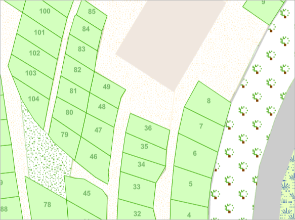 The map showing garden plots with number labels
