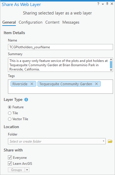 Share As Web Layer pane with all fields filled