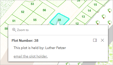Pop-up for plot number 38, held by Luther Fetzer