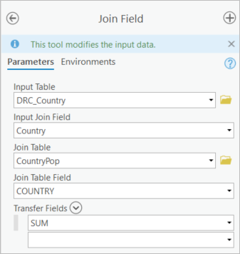 Join Field tool appending the SUM attribute to the DRC_Country feature class