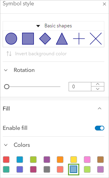 Selecting a blue fill color