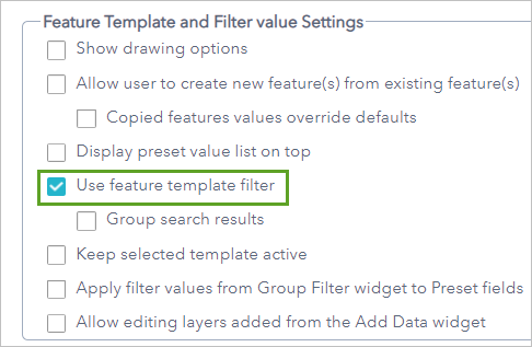 Use feature template filter option