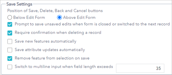 Save Settings configured