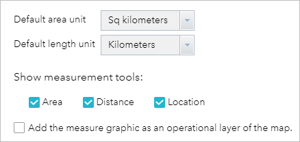 Measurement widget options