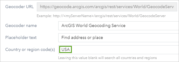 Country or region code option