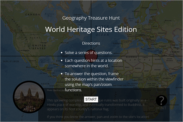 Landing page of the Geography Treasure Hunt map, showing a world map and a start button