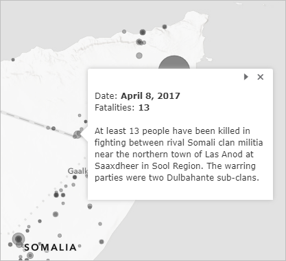Pop-up for a conflict event on April 8, 2017, which had 13 fatalities